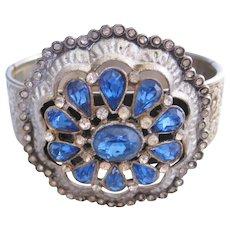 Vintage Silver tone -Blue and Clear Rhinestone Bangle Bracelet