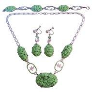 Vintage Mint Green Czech Pressed Glass and Enamel on Chrome Necklace-Bracelet-Earrings