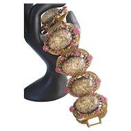 Vintage Selro Acrylic Confetti and Rhinestone Bracelet