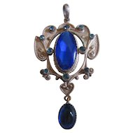 Vintage Transitional Silver tone and Cobalt Pendant