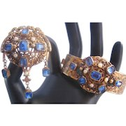 Vintage Rare Czech Brass -Blue Glass and Simulated Pearl Bracelet and Matching Brooch