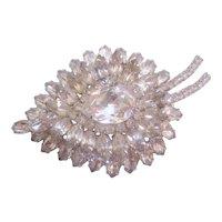 Large Vintage Clear Pear Shaped Rhinestone Brooch Pin