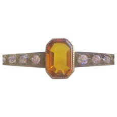 Vintage  Victorian -Edwardian Brass Amber Crystal and Rhinestone Bar Pin