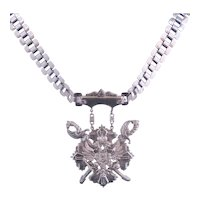 Vintage Silver tone Shield-Crest Style Necklace
