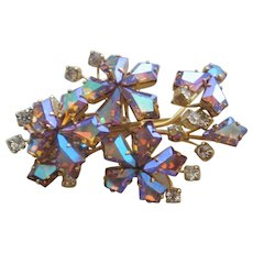 Vintage Vendome Kite Aurora Rhinestone Floral Pin Brooch