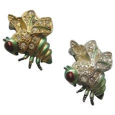 Vintage Pair Wasp-Bee Enamel and Rhinestone Scatter Pin-Brooch
