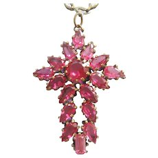 Vintage Czech Pink Faceted Glass and Brass Cross Pendant Necklace