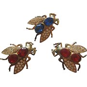 Vintage Rhinestone Fly Scatter Pins