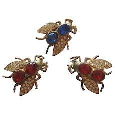 Vintage Rhinestone Fly Scatter Pins
