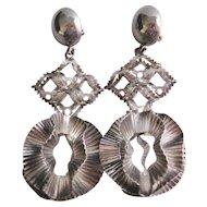 Vintage Metal Industrial Style Chandelier Statement Earrings