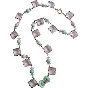 Czech Art Deco Faceted Crystal Jadeite and Ruby Zoisite Bead Necklace