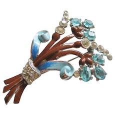 Vintage Enamel and Crystal Floral Brooch-Pin
