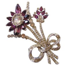 Vintage Large Purple and Clear Rhinestone Floral Brooch Pin