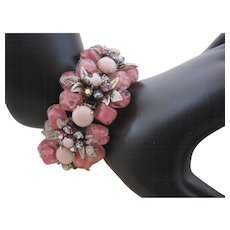Vintage High End Pink Art Glass and Rhinestone Bracelet
