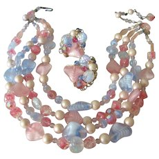 Kramer Pink and Blue Zebra Art Glass and Simulated Pearl Necklace and Earrings Set