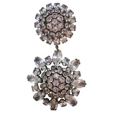 Vintage Open Clear Crystal Double Star Brooch-Pin
