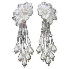 Vintage Acrylic Flower and Leaf Chandelier Statement Earrings