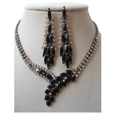 Vintage Black and Clear Rhinestone Waterfall Necklace and Earrings