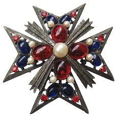 Vintage Weiss Maltese Cross Pin-Pendant