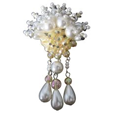 Vintage Simulate Pearl and Aurora Bead Brooch-Pin