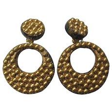 Vintage Large Composition Gold tone Dot Hoop Earrings
