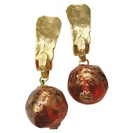 Vintage Runway Statement Brushed Gold tone and Amber Ball Earrings