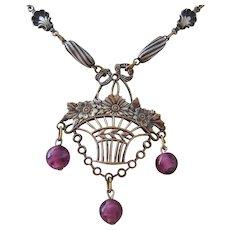 Vintage Art Deco Silver Wash over Brass Flower Basket Necklace