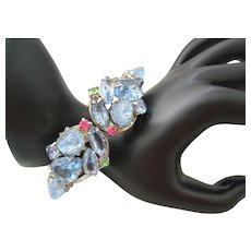 Vintage Blue and Art Glass Clamper Bracelet
