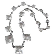 Vintage Art Deco Faceted Graduated Clear Crystal Necklace