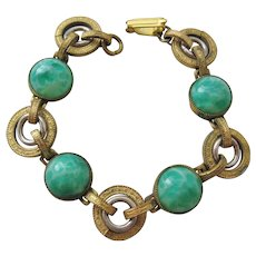 Vintage Brass and Peking Glass Cab Bracelet