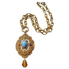 Vintage Brass Enamel and Art Glass Pendant Necklace
