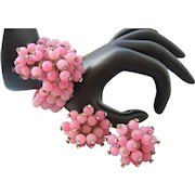 Vintage Pink Glass Bead and Rhinestone Coil Bracelet and Earrings Set
