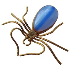 Vintage Art Glass and Brass Spider Brooch-Pin