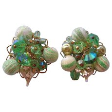Vintage Alice Caviness Art Glass-Sugar Bead Earrings