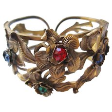 Vintage Brass Floral and Leaf Cuff Bracelet with Multicolored Stones