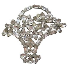 Vintage Clear Rhinestone Flower Basket Brooch-Pin