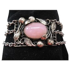 Vintage Art Nouveau Style Silver tone and Pink Art Glass Bracelet