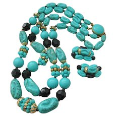 Vintage West German Composition Bead Necklace and Earrings Set