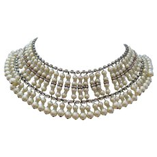 Vintage Faux Pearl-Crystal and Rhinestone Bib Collar Necklace