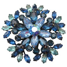 Vintage Large Blue Aurora Brooch-Pin