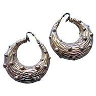 Vintage Classic Textured Basket Weave  Ciner Hoop Earrings