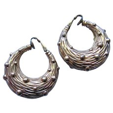 Vintage Classic Textured Basket Weave  Ciner Hoop Earrings