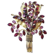 Large Gold Tone Floral Spray with Red and Pink Faceted Crystal Brooch-Pin