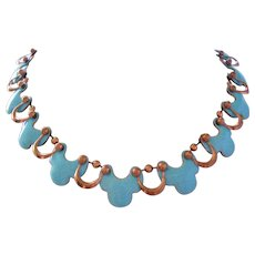 Vintage Mid Century Matisse Pale Blue Enamel and Copper Necklace
