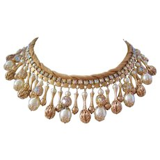 Vintage Fabulous Mid Century Bib Necklace with Gold tone Beads-Simulated Pearls and Crystals