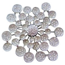 Huge Vintage Atomic-Lily Pad Clear Rhinestone Brooch-Pin
