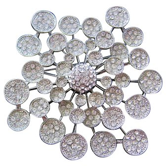 Huge Vintage Atomic-Lily Pad Clear Rhinestone Brooch-Pin