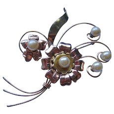 Large Vintage Gold Filled Retro Modern Floral Brooch with Simulated Pearls