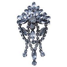 Large Vintage Japanned Open back Crystal Brooch-Pin