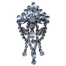 Large Vintage Japanned Open back Crystal Brooch-Pin